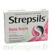 STREPSILS FRAISE SANS SUCRE, pastille édulcorée à l'isomalt, au maltitol et à la saccharine sodique à SAINT-GERMAIN-DU-PUY